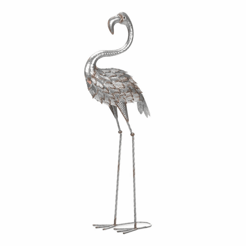 Standing Tall Galvanized Flamingo Statue
