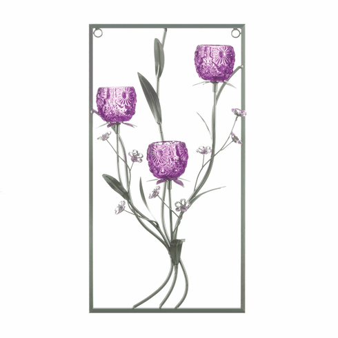 Three Candle Magenta Flower Wall Sconce