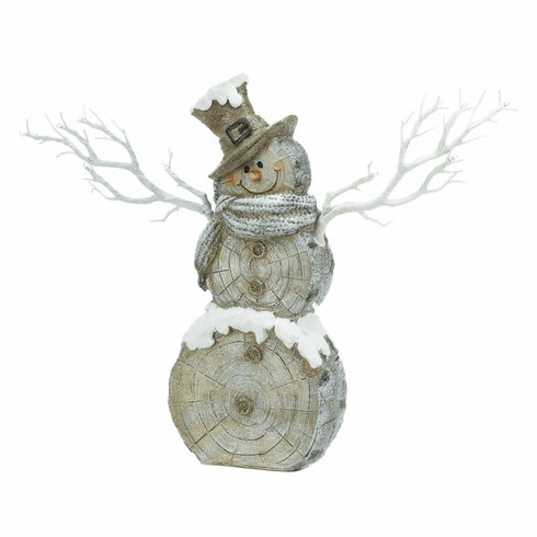 Twig Lights Snowman Statue