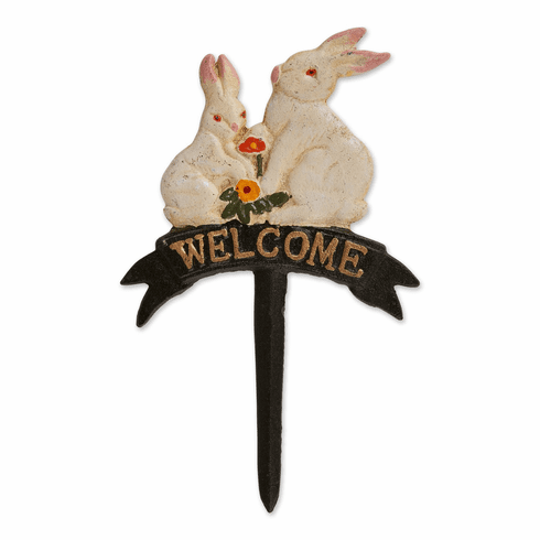 Welcome Bunnies Cast Iron Sign