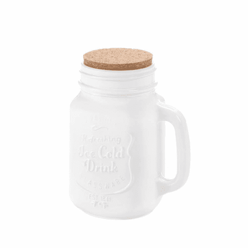 White Mason Jar With Cork