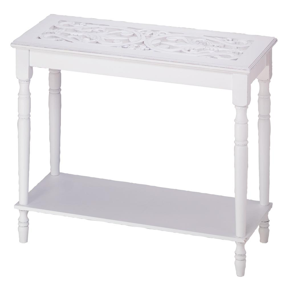White Wood Carved Table