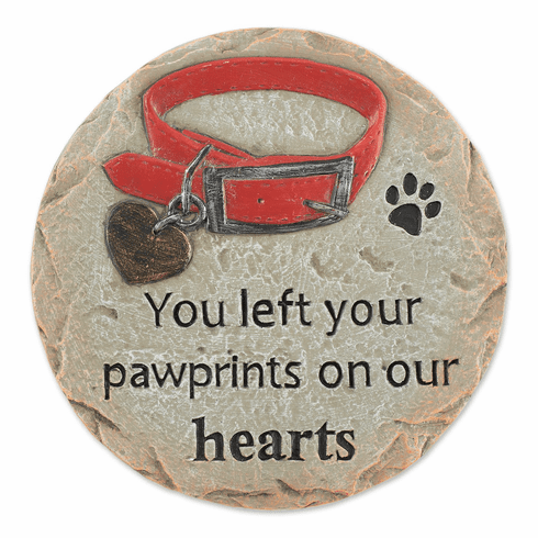 You Left Your Pawprints On Our Hearts Pet Memorial Stone