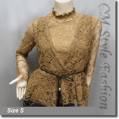 2-Piece Lace Turtleneck Long Sleeve Top with Crochet Vest Brown