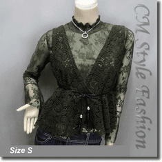 2-Piece Lace Turtleneck Long Sleeve Top with Crochet Vest Green