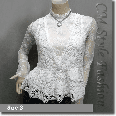 2-Piece Lace Turtleneck Long Sleeve Top with Crochet Vest Off White