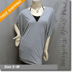 2 Piece Set Kimono Sleeve Tunic Gray + Halter Camisole Black