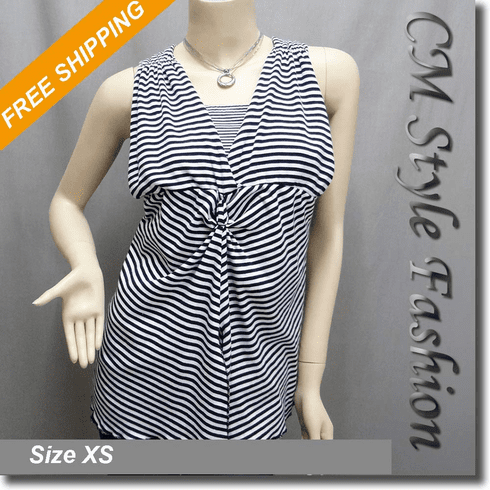 2 Piece Stripe Twist Knot Vest Top with Tube Top Black White