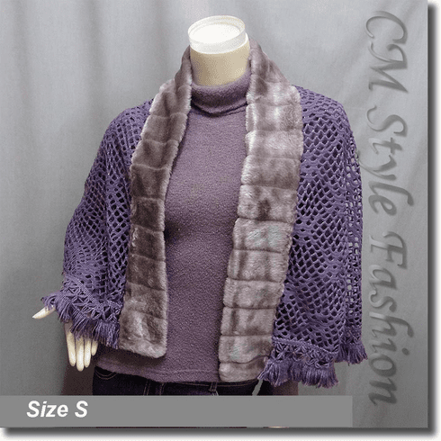 2 Piece Top Set : Turtleneck Top + Faux Fur Trimmed Cape Shawl Purple