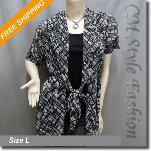 2 Pieces Flowy Cardigan Vest Top Set Black Gray