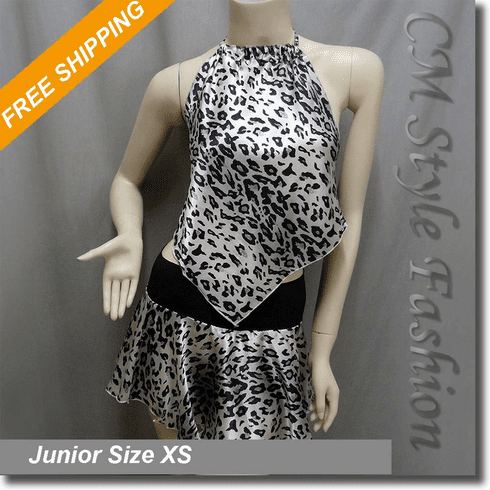 2 Pieces Leopard Print Sating Halter Top + Mini Skirt Set
