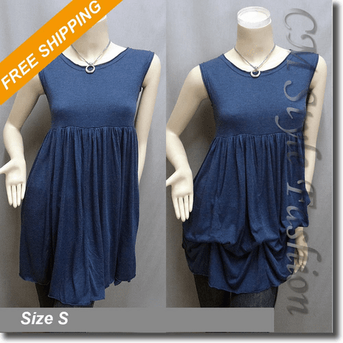 2 Way Empire Waist Ruched Drapey Flowy Tunic Frock Top Blue