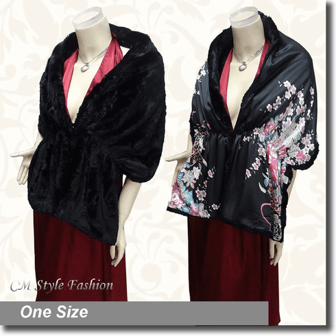 2 Way Faux Fur Shawl Black / Oriental Print
