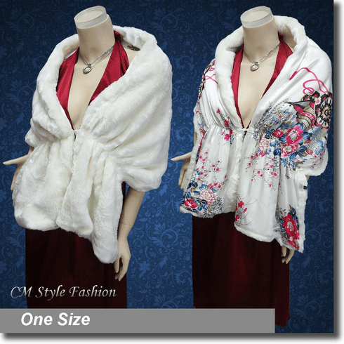 2 Way Faux Fur Shawl / Bridal Shawl Off White