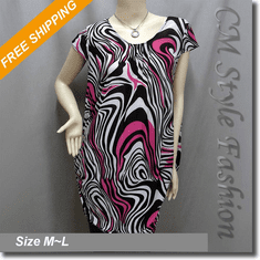 Abstract Strip Distortion Twist Swirl Print Tunic Top Pink Black White
