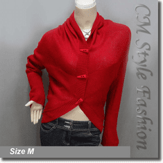 Acrylic Cocoon Knit Cardigan Sweater Top Red
