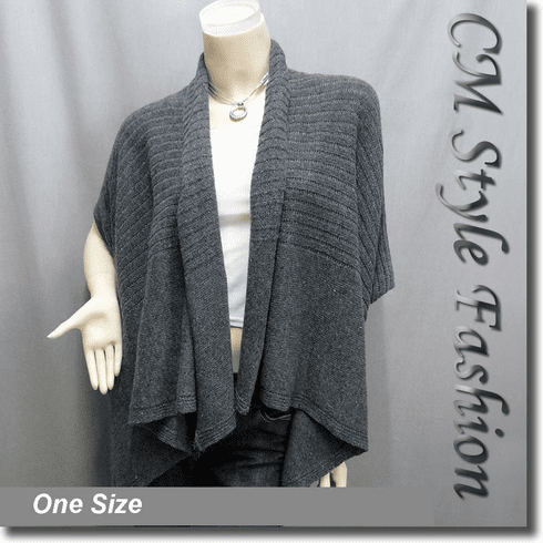 Acrylic Knit Sweater Cardigan Shrug Drape Gray