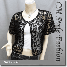 Applique Embroidery Mesh Bolero Top Black