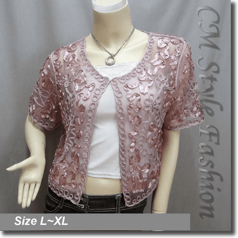 Applique Embroidery Mesh Bolero Top Pink