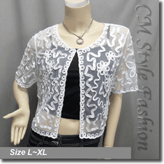 Applique Embroidery Mesh Bolero Top White