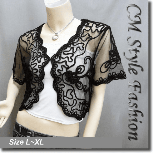 Applique Embroidery Mesh Shrug Bolero Black