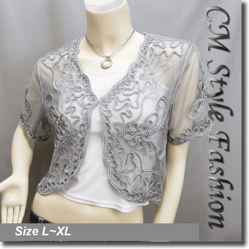 Applique Embroidery Mesh Shrug Bolero Gray/Grey