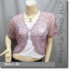 Applique Embroidery Mesh Shrug Bolero Pink