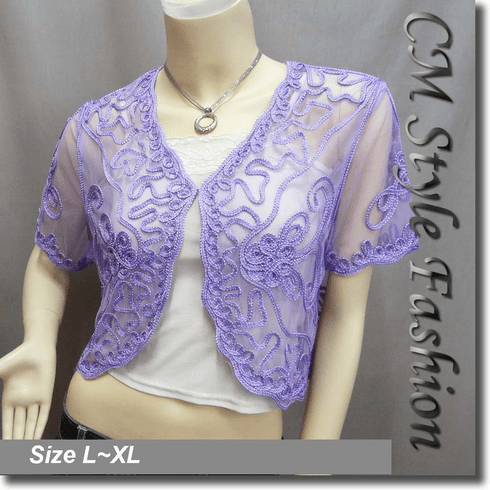 Applique Embroidery Mesh Shrug Bolero Purple