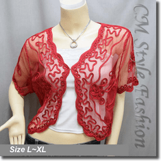 Applique Embroidery Mesh Shrug Bolero Red