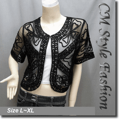 Applique Embroidery Mesh Shrug Bolero Top Black