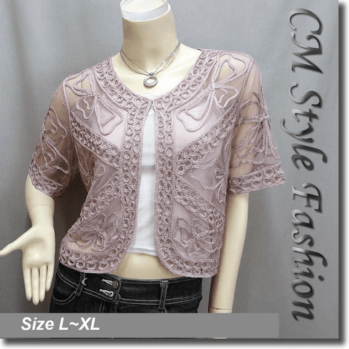 Applique Embroidery Mesh Shrug Bolero Top Pink