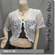 Applique Embroidery Mesh Shrug Bolero White