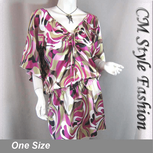 Artistic Prints Batwing Satin Tunic Top Pink