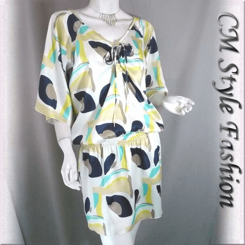 Artistic Prints Batwing Satin Tunic Top White Blue Yellow