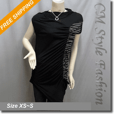 Asymmetric Ruched Stripe Patchwork Tunic Top Black