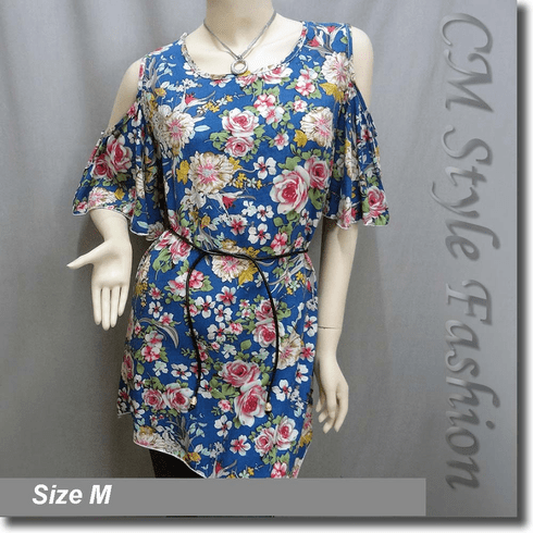 Bare Shoulder Flowery Flutter Sleeve Tunic Top Blue