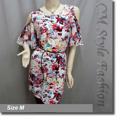 Bare Shoulder Flowery Flutter Sleeve Tunic Top White