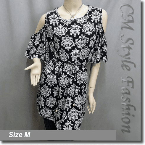 Bare Shoulder Flutter Sleeve Tunic Top Black White
