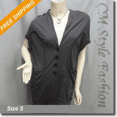 Batwing Buttoned Long Cardigan Top with Pockets Gray