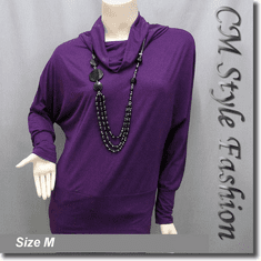 Batwing Sleeve Tunic Top w/ Necklace Purple