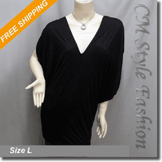 Batwing Sleeve V Neck Drapey Frock Tunic Top Black