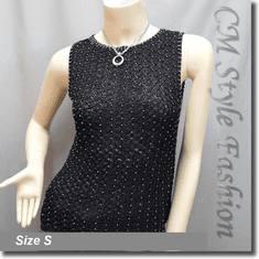 Beaded Crochet Knit Blouse Tank Top Black