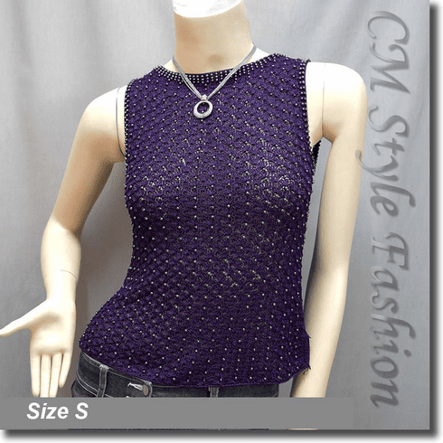 Beaded Crochet Knit Blouse Tank Top Purple