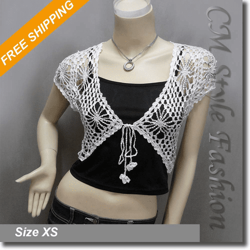Beaded Crochet Knit Front Tie Bolero Crop Shrug Top White