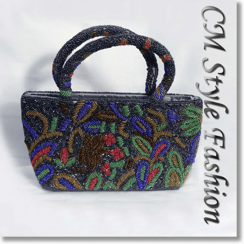 Beaded Embroidered Classy Evening Handbag Multi Color
