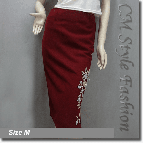 Beaded Floral Embroidery Pencil Flannel Skirt Burgundy
