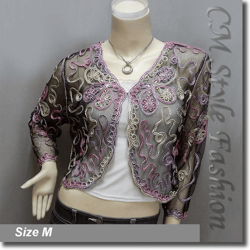 Beaded Multi-colored Embroidery Shrug Glam Bolero Top Black