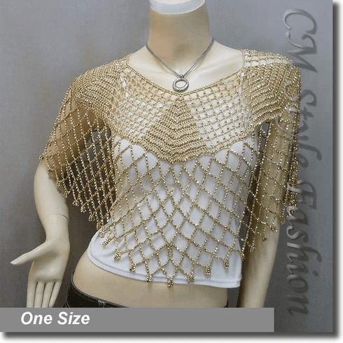 Beaded Party Wear Crochet Knit Net Poncho Wrap Cape Golden