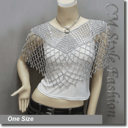 Beaded Party Wear Crochet Knit Net Poncho Wrap Cape Gray Silvery