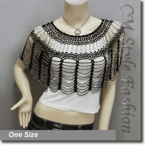 Beaded Party Wear Crochet Knit Net Poncho Wrap Cape Top Black